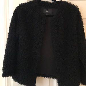 H & M women's black soft textured coat.